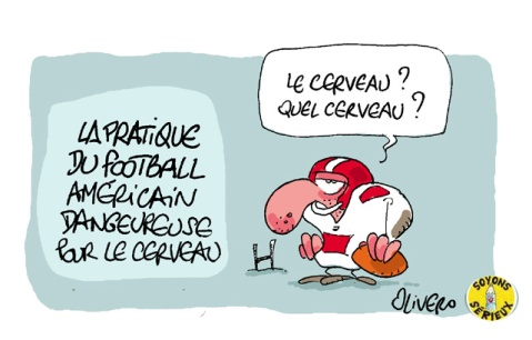 football américain, superball, rugby, danger, commotion cérébrale, cerveau, suicide, sport, dessin, caricature, Olivero